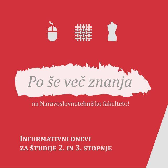 Hej diplomanti! Vabljeni na informativni dan za magistrske in doktorski študij! ℹ️  #magisterij #doktorat #grafika #tekstilstvo #oblikovanjetekstilijinoblačil