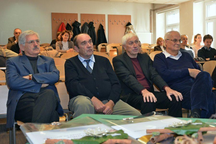 Od leve proti desni: Miran Veselič, Jože Pezdič, Mihael Ribičič, France Šušteršič