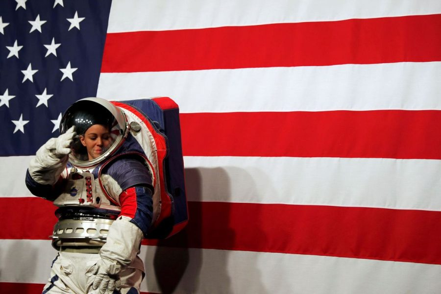 Advanced Space Suit Engineer at NASA Kristine Davis wears the xEMU prototype space suit for the next astronaut to the moon by 2024, during its presentation at NASA headquarters in Washington, U.S., October 15, 2019. REUTERS/Carlos Jasso     TPX IMAGES OF THE DAY